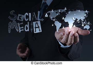 businessman working with new modern computer show social network structure as concept