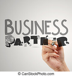 hand drawing graphic word business partner as concept