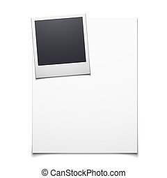 Blank paper and polaroid photo frame - Vector illustration...