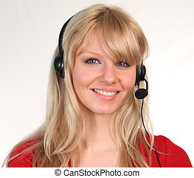 Woman on a Heaset Talking - Young attractive casual Woman on...