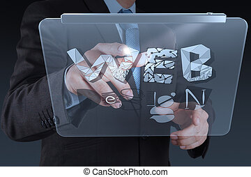 businessman hand working with tablet computer show WEB...