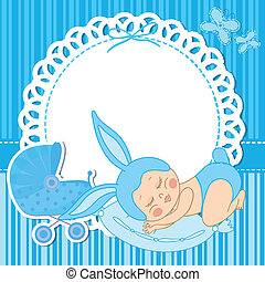 card with baby boy born in bunny costume
