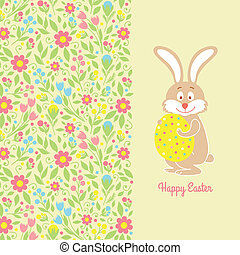 Easter bunny card with egg