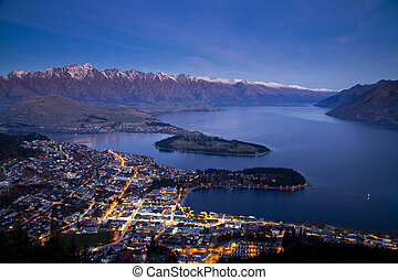 Twilight at Queentown, New Zealand - Aerial view of...
