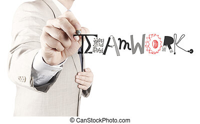 businessman hand drawing design graphic word TEAMWORK as concept