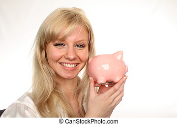Woman Holding a piggybank - Young attractive Woman Holding a...