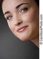 Woman face closeup - Closeup portrait of beautiful young...