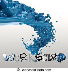 3D paint color splash with design word WORKSHOP as concept