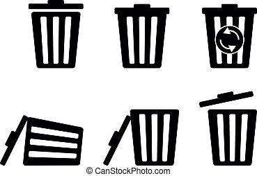 Set of trashcan silhouette icon