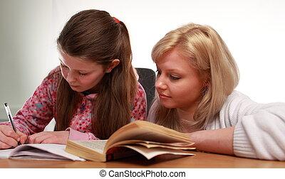 enseñanza, madre, ella, niño