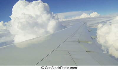 Commercial airplane - Wing of commercial airplane flight...