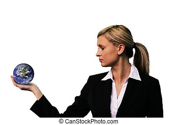 Business woman Holding a Globe - Wrap Image for Globe...