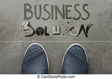 Handdrawn BUSINESS SOLUTION design word on front of business...