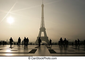 Silhouette of he Eiffel Tower in Paris - France