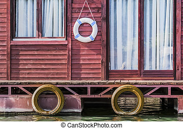 Old Wooden Red Raft Weekend House On Sava River - Detail