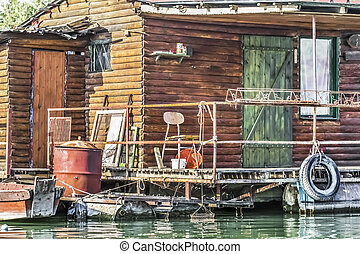 Old Wooden Raft Weekend House On Sava River - Detail