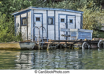 Old Wooden White-Blue Raft Weekend House On Sava River