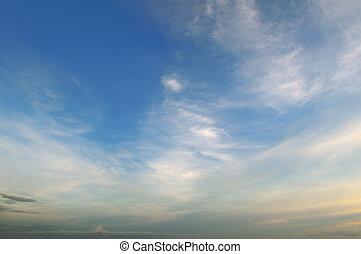 美麗, 藍色, 天空, 云霧, 光