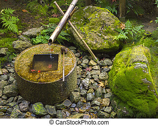 Japanese traditional bamboo fountain - Japanese style...