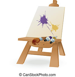 Easel - Vector image of easel with brush and paint