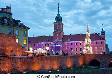 Royal Palace in the Old Town of Warsaw, Poland, during...