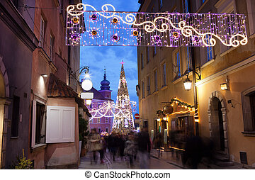 Christmas Illumination on Piwna Street in Warsaw - Christmas...