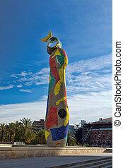 monument, Joan Miró, Barcelona - Dona i Ocell, Sculpture...