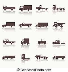 Transport truck icons Vector illustration Vector silhouettes...
