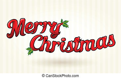 Merry Christmas text worked out to details Vector art