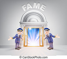 Door to Fame and Doormen - Fame concept of a doormen hoding...