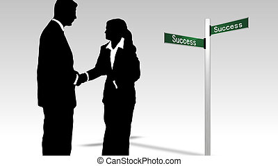 Business teamwork leading to success