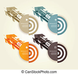 Four colored paper arrows with place for your own text.