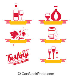 Labels set of drinks for restaurant and cafe.  Illustration.