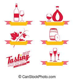Labels set of drinks for restaurant and cafe.  Illustration.