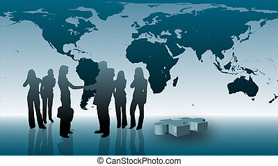 Teamwork in Business - Silhouetted Business teamwork Concept