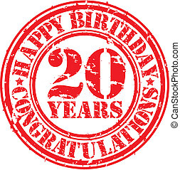 Happy birthday 20 years grunge rubber stamp, vector illustration