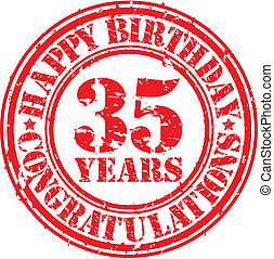 Happy birthday 35 years grunge rubber stamp, vector illustration