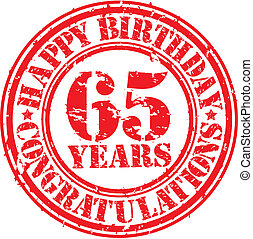 Happy birthday 65 years grunge rubber stamp, vector...