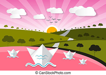 Paper Vector Nature Background with Lake, Trees, Clouds