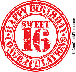 Happy birthday sweet 16 grunge rubber stamp, vector...