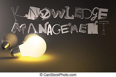 creative design hand drawn KNOWLEDGE MANEGEMENT word and light bulb 3d as concept