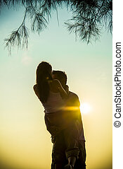 Lovely Couple on sunset scene