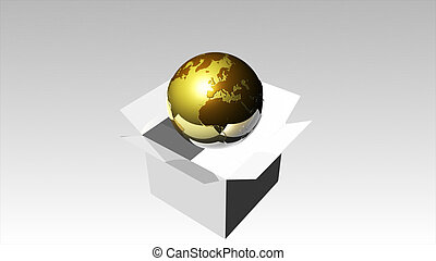 3d Rendered illustration of a Globe in a Box