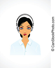 abstract call centre lady vector illustration