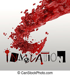 3D paint color splash with design word INNOVATION as concept