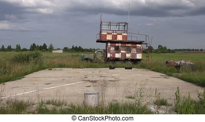 historical machine on airfield - old historical machine on...