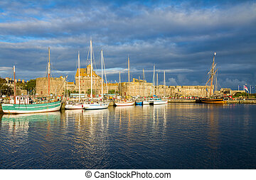 harbour of Saint Malo, France - walls of old town and...