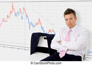 Economic recession - Disappointed businessman sitting in...