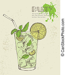 Hand drawn illustration of mojito with mint and lime.