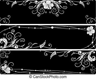 set of floral banners with hibiscus - set of vector floral...